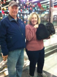 Safely at O'Hare in the arms of Karen. (photo courtesy of Davica)