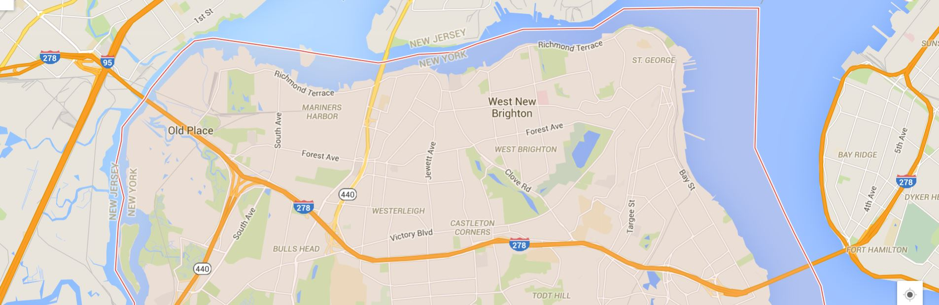 The surprisingly large Staten Island. Home of few gas stations conveniently near the interstate!